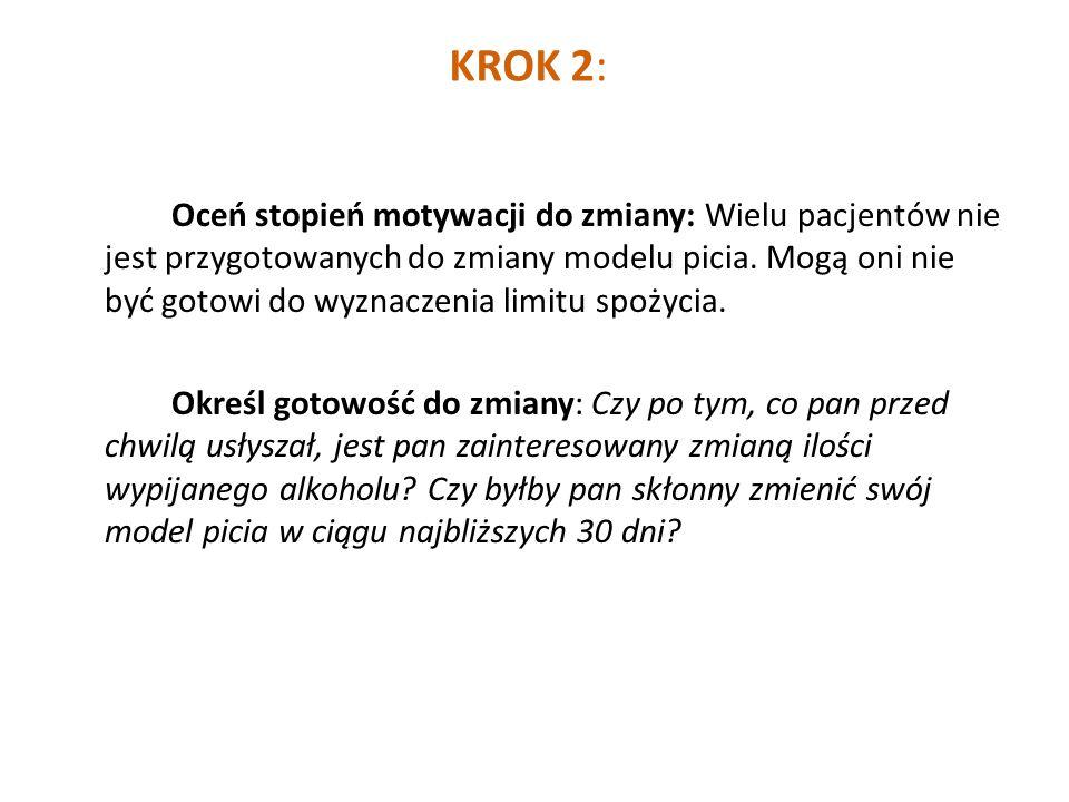 KROK 2: Oceń stopień motywacji do zmiany: Wielu pacjentów nie jest przygotowanych do zmiany modelu picia.