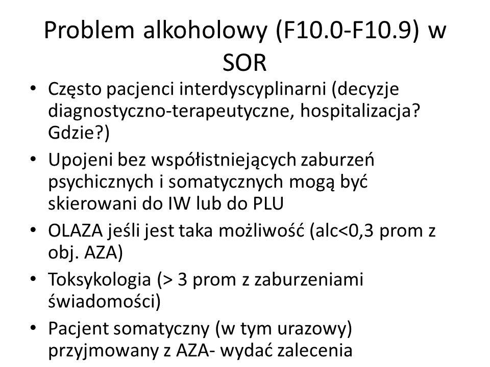 Problem alkoholowy (F10.0-F10.9) w SOR Często pacjenci interdyscyplinarni (decyzje diagnostyczno-terapeutyczne, hospitalizacja.
