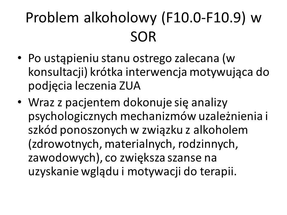 Problem alkoholowy (F10.0-F10.9) w SOR Po ustąpieniu stanu ostrego zalecana (w konsultacji) krótka interwencja motywująca do podjęcia leczenia ZUA Wraz z pacjentem dokonuje się analizy psychologicznych mechanizmów uzależnienia i szkód ponoszonych w związku z alkoholem (zdrowotnych, materialnych, rodzinnych, zawodowych), co zwiększa szanse na uzyskanie wglądu i motywacji do terapii.