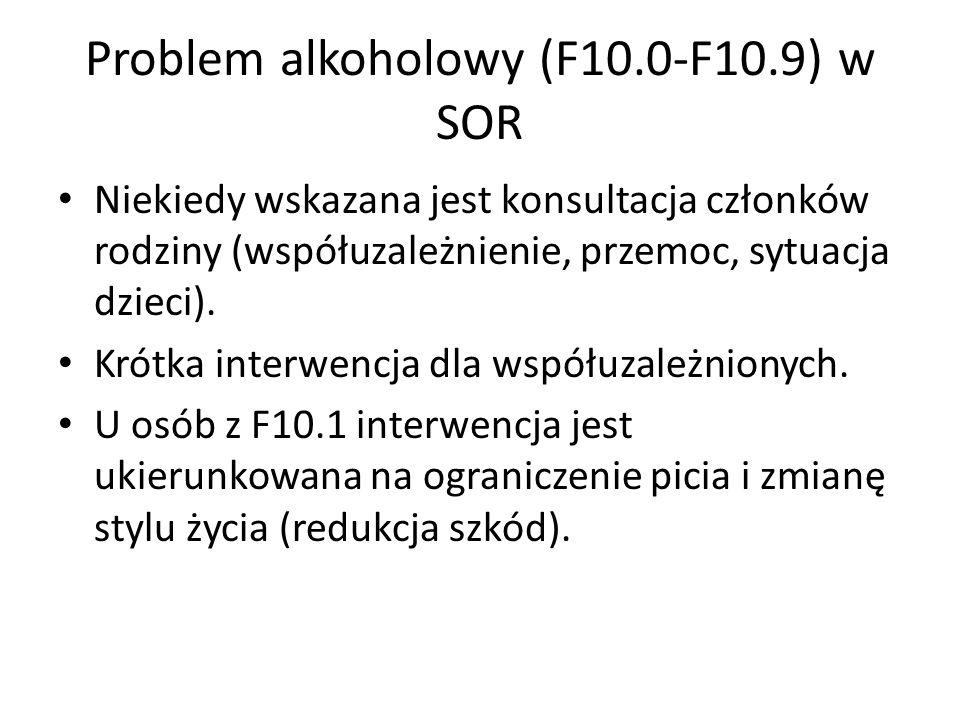 Problem alkoholowy (F10.0-F10.9) w SOR Niekiedy wskazana jest konsultacja członków rodziny (współuzależnienie, przemoc, sytuacja dzieci).