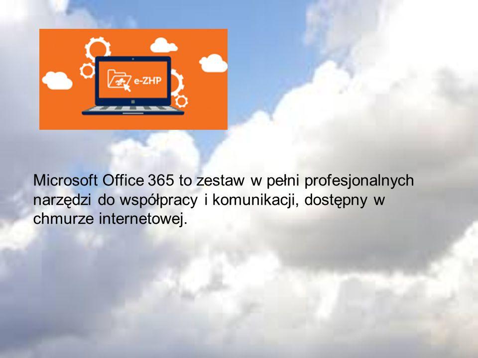 Pakiet Office Online: - Word Online – edytor tekstu - Excel Online – arkusz kalkulacyjny - PowerPoint Online – program do tworzenia prezentacji multimedialnych - OneNote Online – program do przygotowywania i przechowywania notatek Formularze Online – tworzenie ankiet oraz formularzy zgłoszeniowych Outlook – skrzynka e-mail Dzięki tej usłudze w jednym miejscu można korzystać z: