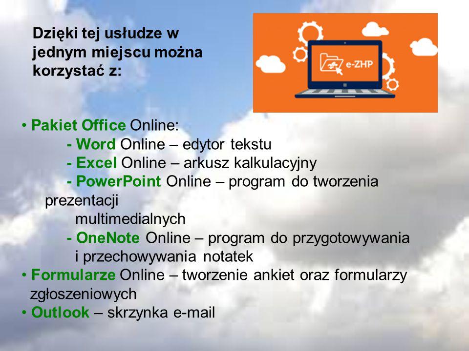 OneDrive – dysk internetowy dla potrzeb prywatnych bez limitu pojemności SharePoint – zaawansowany dysk internetowy do wymiany plików wewnątrz organizacji Kalendarz – umożliwia planowanie działań w grupie Lync – komunikator do przeprowadzenia wideokonferencji oraz jednoczesnej pracy zdalnej Yammer – sieć społecznościowa do kontaktów służbowych Zadania – tworzenie list zadań i zarządzanie nimi w grupie Kontakty – zarządzanie prywatnymi kontaktami oraz tworzenie baz kontaktów członków organizacji