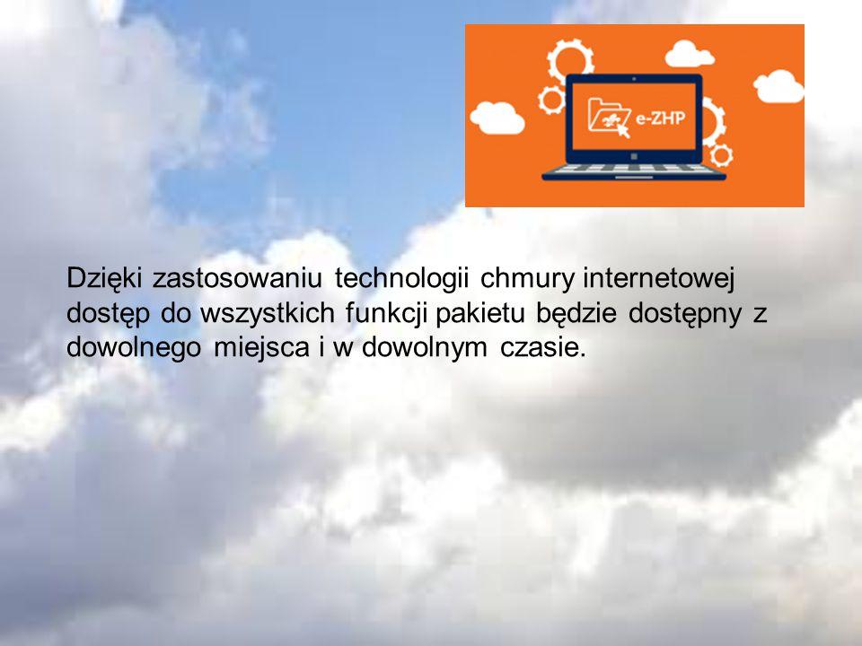 Dzięki zastosowaniu technologii chmury internetowej dostęp do wszystkich funkcji pakietu będzie dostępny z dowolnego miejsca i w dowolnym czasie.