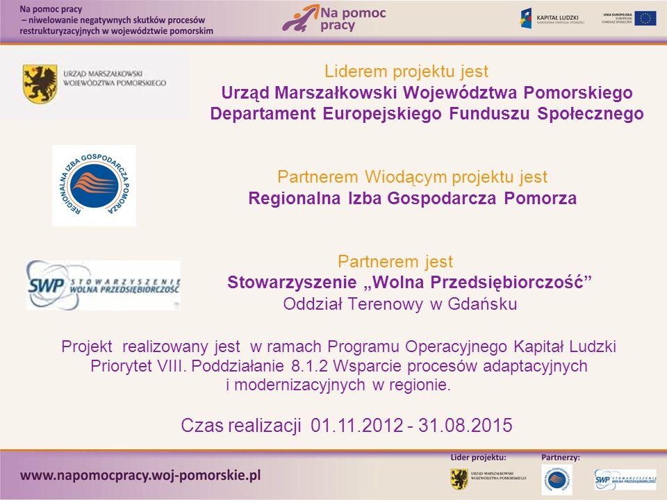 Liderem projektu jest Urząd Marszałkowski Województwa Pomorskiego Departament Europejskiego Funduszu Społecznego Partnerem Wiodącym projektu jest Regi