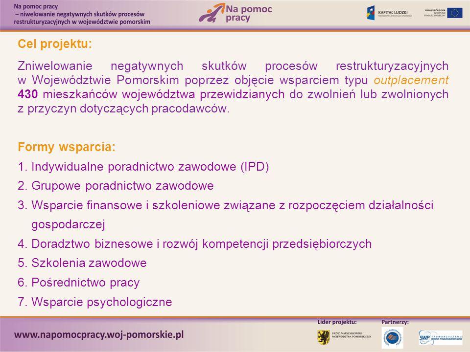 Cel projektu: Zniwelowanie negatywnych skutków procesów restrukturyzacyjnych w Województwie Pomorskim poprzez objęcie wsparciem typu outplacement 430 mieszkańców województwa przewidzianych do zwolnień lub zwolnionych z przyczyn dotyczących pracodawców.