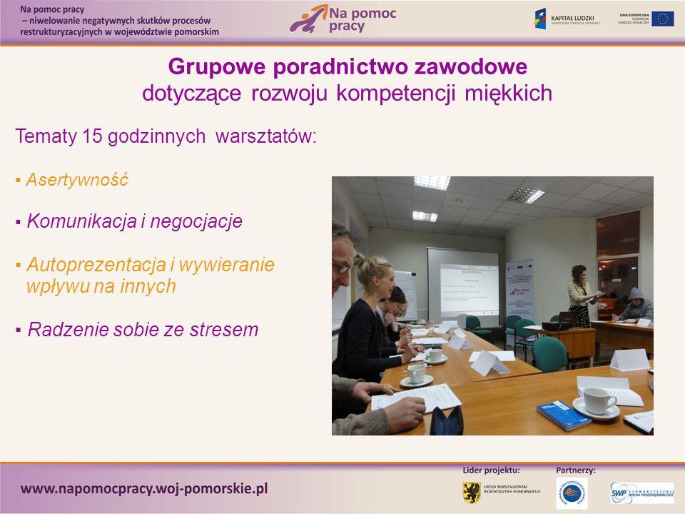 Grupowe poradnictwo zawodowe dotyczące rozwoju kompetencji miękkich Tematy 15 godzinnych warsztatów: ▪ Asertywność ▪ Komunikacja i negocjacje ▪ Autopr