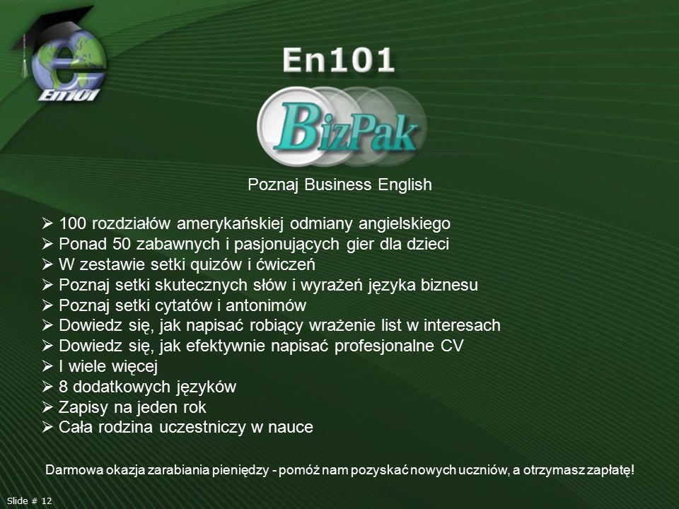 Poznaj Business English  100 rozdziałów amerykańskiej odmiany angielskiego  Ponad 50 zabawnych i pasjonujących gier dla dzieci  W zestawie setki qu