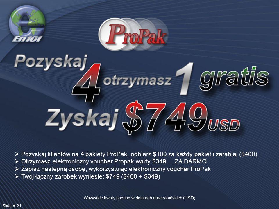 Pozyskaj klientów na 4 pakiety ProPak, odbierz $100 za każdy pakiet i zarabiaj ($400)  Otrzymasz elektroniczny voucher Propak warty $349... ZA DARM