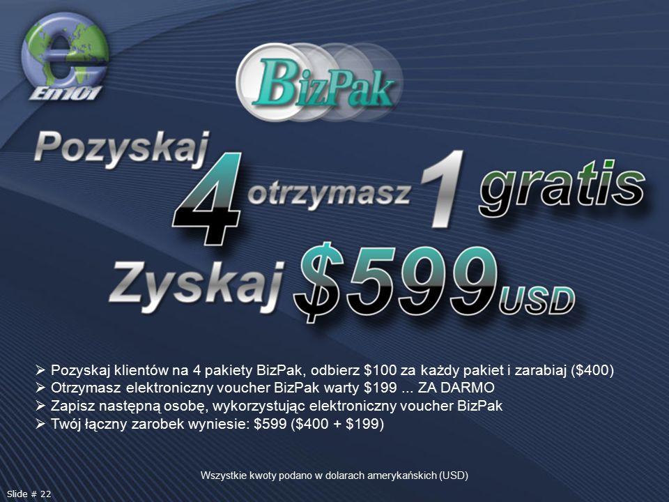 Wszystkie kwoty podano w dolarach amerykańskich (USD) Slide # 22  Pozyskaj klientów na 4 pakiety BizPak, odbierz $100 za każdy pakiet i zarabiaj ($400)  Otrzymasz elektroniczny voucher BizPak warty $199...