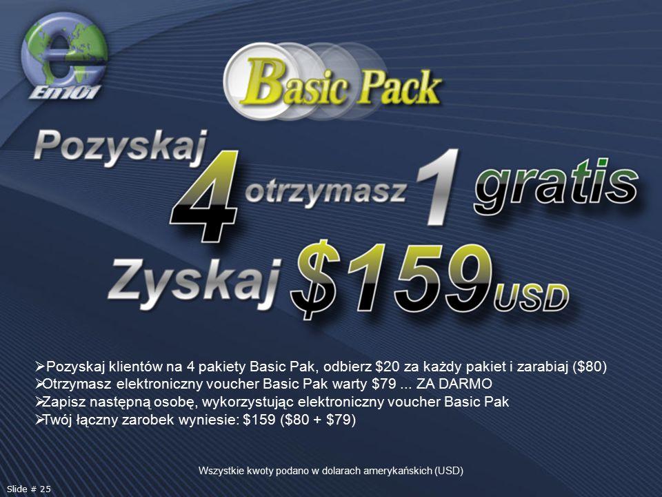 Wszystkie kwoty podano w dolarach amerykańskich (USD) Slide # 25  Pozyskaj klientów na 4 pakiety Basic Pak, odbierz $20 za każdy pakiet i zarabiaj ($