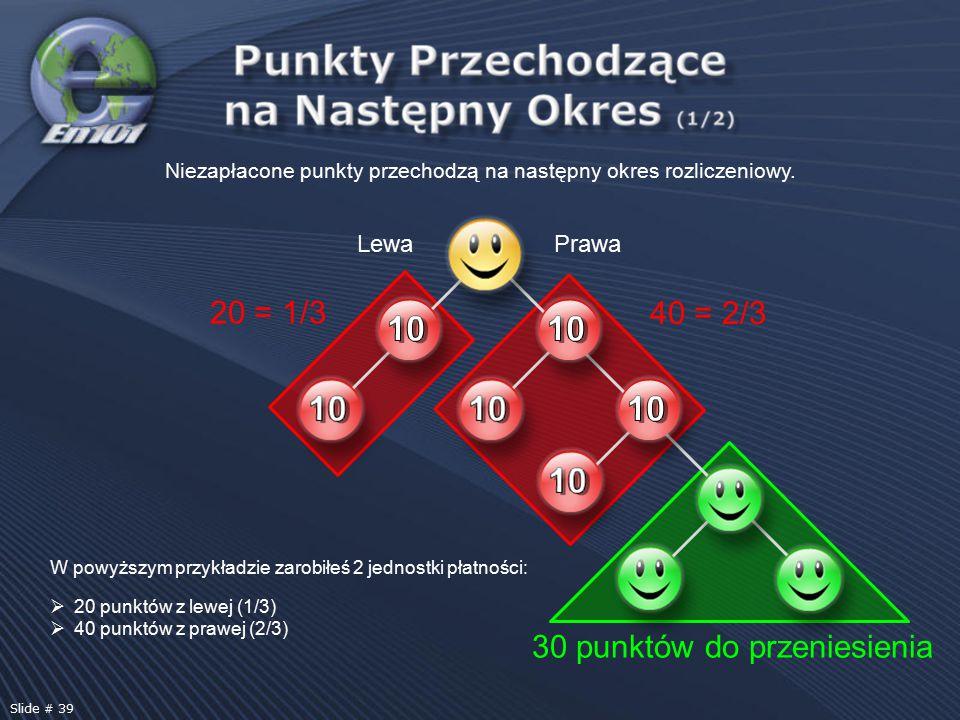 W powyższym przykładzie zarobiłeś 2 jednostki płatności:  20 punktów z lewej (1/3)  40 punktów z prawej (2/3) Niezapłacone punkty przechodzą na nast