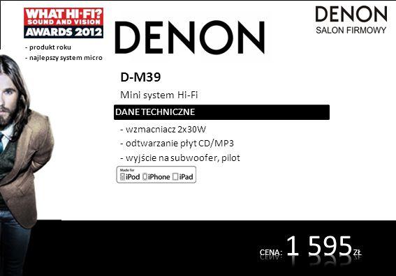 D-M39 Mini system Hi-Fi - wzmacniacz 2x30W - odtwarzanie płyt CD/MP3 - wyjście na subwoofer, pilot DANE TECHNICZNE - produkt roku - najlepszy system m