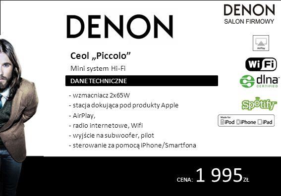 """CENA: 1 995 ZŁ Ceol """"Piccolo Mini system Hi-Fi - wzmacniacz 2x65W - stacja dokująca pod produkty Apple - AirPlay, - radio internetowe, Wifi - wyjście na subwoofer, pilot - sterowanie za pomocą iPhone/Smartfona DANE TECHNICZNE"""