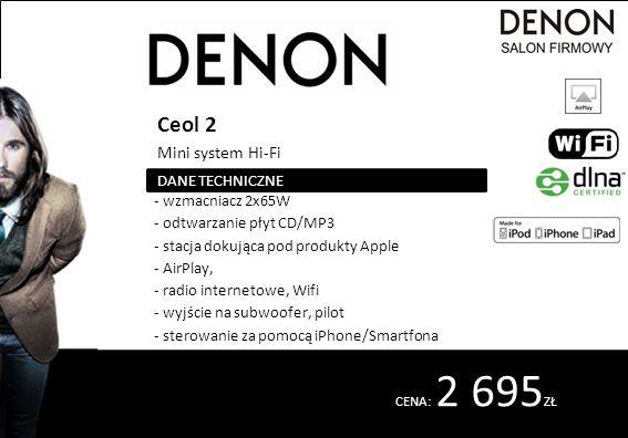 CENA: 2 695 ZŁ Ceol 2 Mini system Hi-Fi - wzmacniacz 2x65W - odtwarzanie płyt CD/MP3 - stacja dokująca pod produkty Apple - AirPlay, - radio interneto
