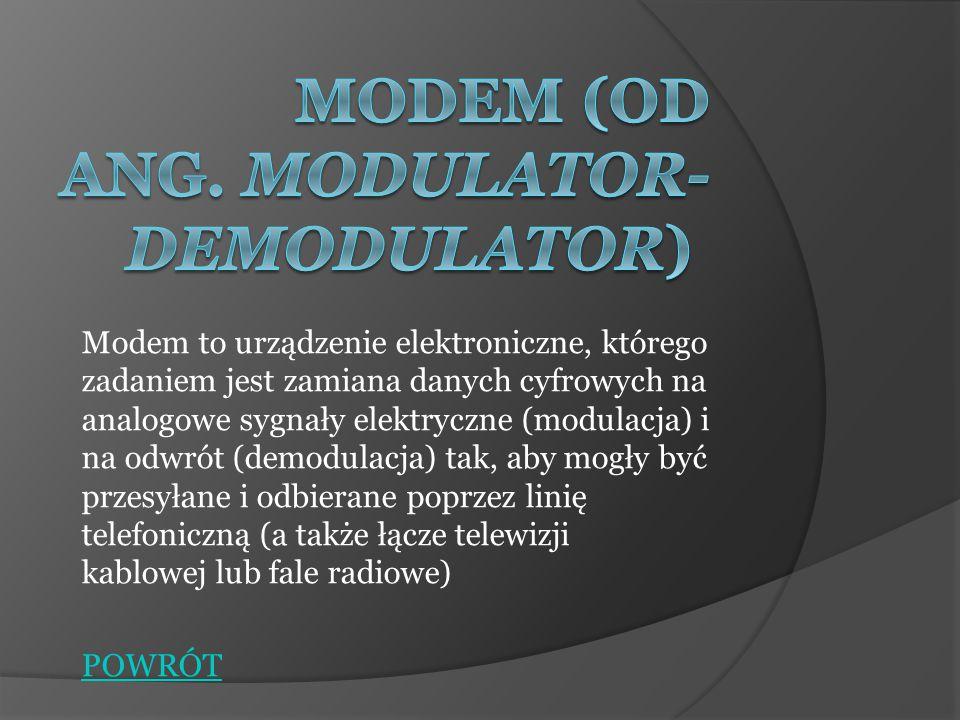 Modemy akustyczne W najstarszych modemach dane były zamieniane na przerywane dźwięki o częstotliwości 5 kHz i składały się z przetwornika elektrycznego, głośnika i mikrofonu.