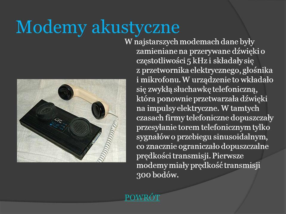 Modemy akustyczne W najstarszych modemach dane były zamieniane na przerywane dźwięki o częstotliwości 5 kHz i składały się z przetwornika elektryczneg