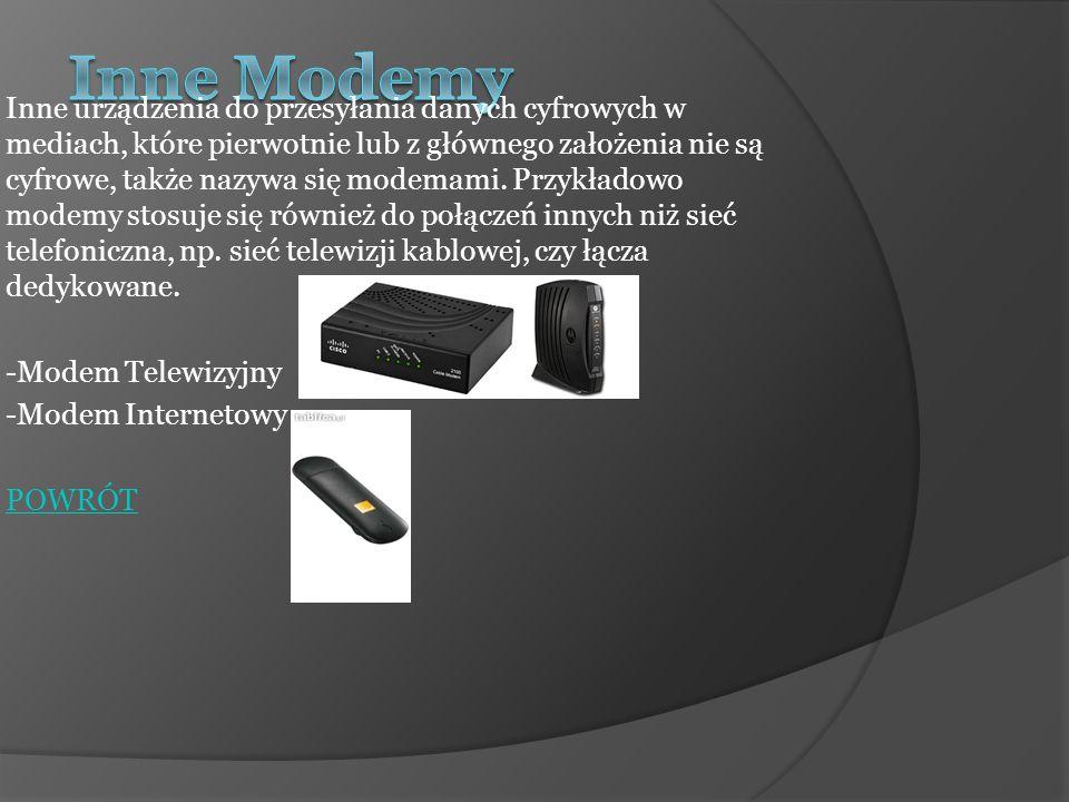Modem może być: ZEWNĘTRZNY, czyli występujący w postaci oddzielnego urządzenia, znajdującego się poza komputerem i połączony z nim (lub z innym odbiornikiem) przy użyciu przewodu (interfejs: RS-232, USB, LPT, ethernet) oraz charakteryzujący się pełną samodzielnością sprzętową.