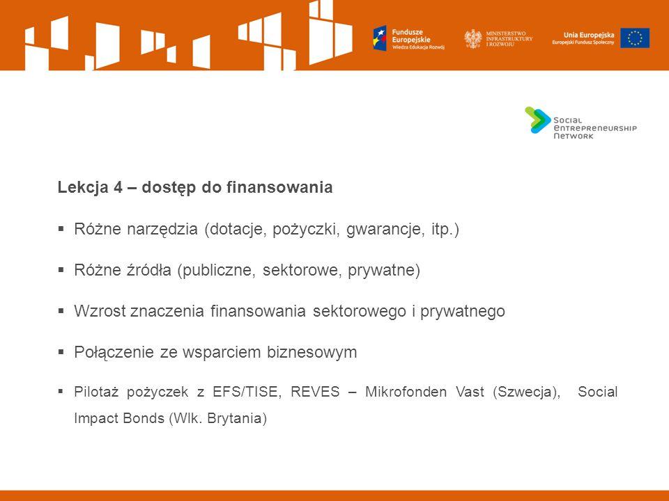 Lekcja 4 – dostęp do finansowania  Różne narzędzia (dotacje, pożyczki, gwarancje, itp.)  Różne źródła (publiczne, sektorowe, prywatne)  Wzrost znaczenia finansowania sektorowego i prywatnego  Połączenie ze wsparciem biznesowym  Pilotaż pożyczek z EFS/TISE, REVES – Mikrofonden Vast (Szwecja), Social Impact Bonds (Wlk.