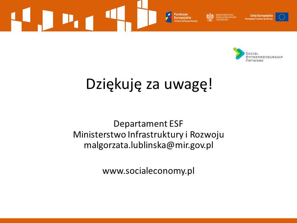 Dziękuję za uwagę! Departament ESF Ministerstwo Infrastruktury i Rozwoju malgorzata.lublinska@mir.gov.pl www.socialeconomy.pl