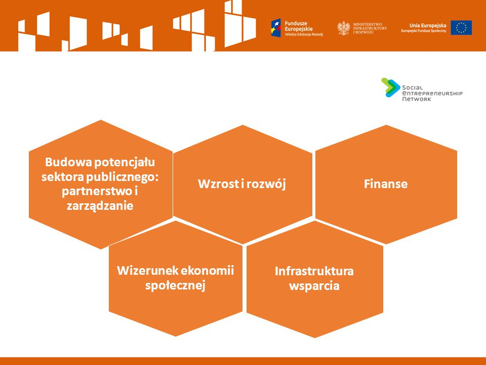 Wzrost i rozwój Budowa potencjału sektora publicznego: partnerstwo i zarządzanie Wizerunek ekonomii społecznej Finanse Infrastruktura wsparcia