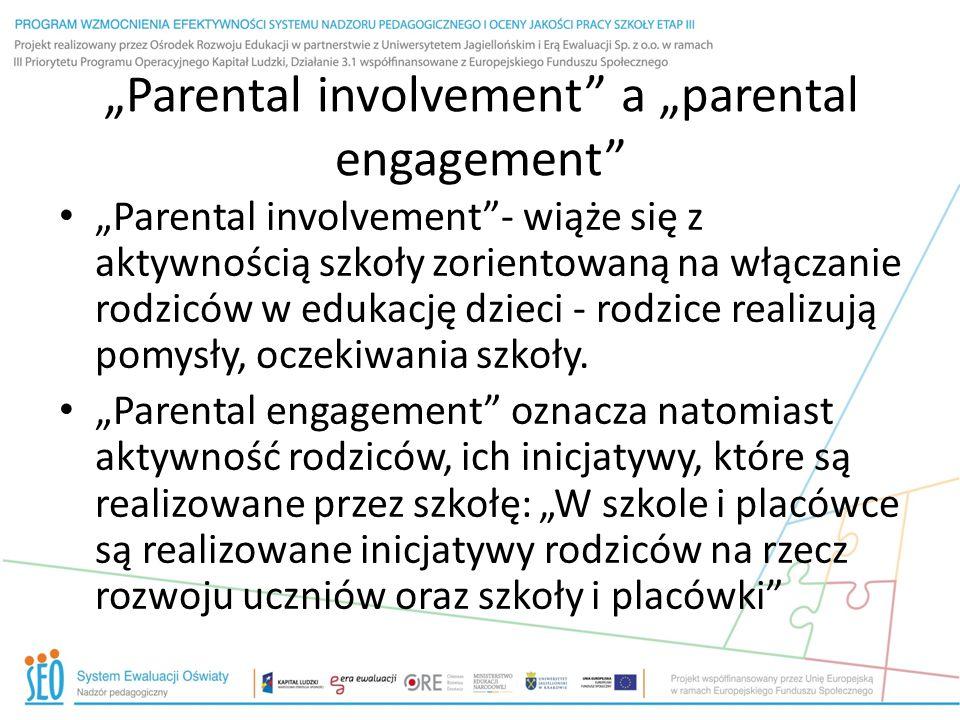 """""""Parental involvement a """"parental engagement """"Parental involvement - wiąże się z aktywnością szkoły zorientowaną na włączanie rodziców w edukację dzieci - rodzice realizują pomysły, oczekiwania szkoły."""