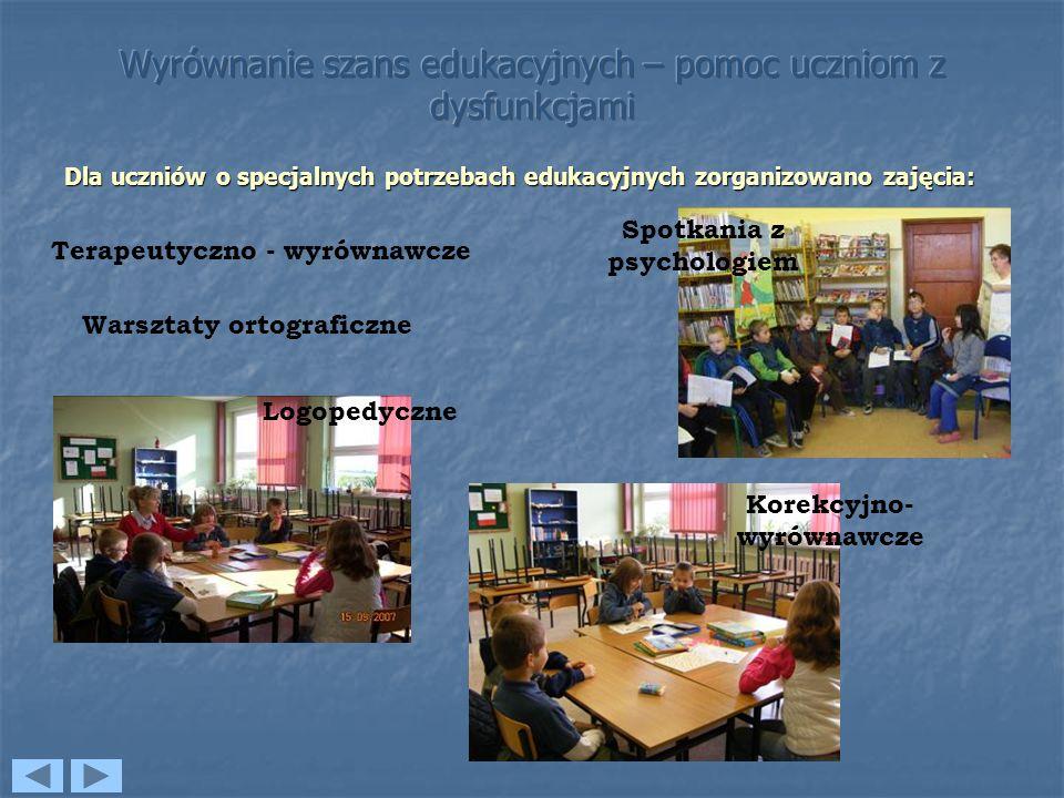 Dla uczniów o specjalnych potrzebach edukacyjnych zorganizowano zajęcia: Korekcyjno- wyrównawcze Terapeutyczno - wyrównawcze Logopedyczne Spotkania z psychologiem Warsztaty ortograficzne