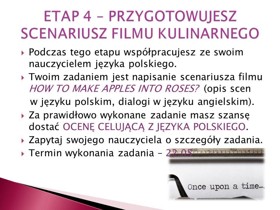  Podczas tego etapu współpracujesz ze swoim nauczycielem języka polskiego.