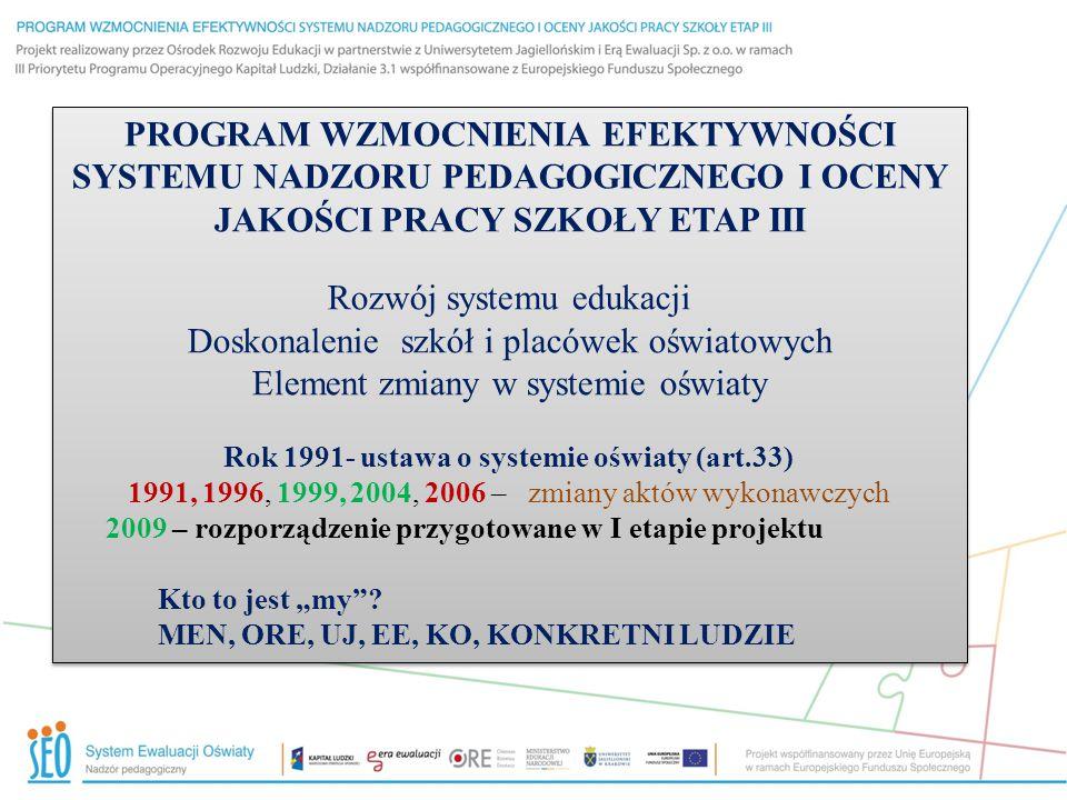 """PROGRAM WZMOCNIENIA EFEKTYWNOŚCI SYSTEMU NADZORU PEDAGOGICZNEGO I OCENY JAKOŚCI PRACY SZKOŁY ETAP III Rozwój systemu edukacji Doskonalenie szkół i placówek oświatowych Element zmiany w systemie oświaty Rok 1991- ustawa o systemie oświaty (art.33) 1991, 1996, 1999, 2004, 2006 – zmiany aktów wykonawczych 2009 – rozporządzenie przygotowane w I etapie projektu Kto to jest """"my ."""