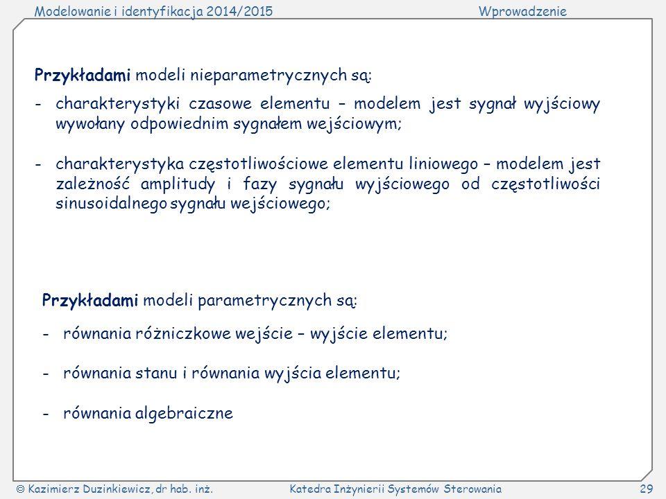 Modelowanie i identyfikacja 2014/2015Wprowadzenie  Kazimierz Duzinkiewicz, dr hab. inż.Katedra Inżynierii Systemów Sterowania29 Przykładami modeli ni