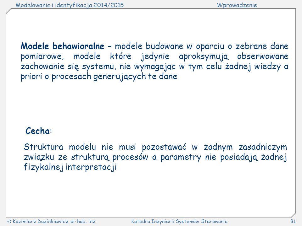 Modelowanie i identyfikacja 2014/2015Wprowadzenie  Kazimierz Duzinkiewicz, dr hab. inż.Katedra Inżynierii Systemów Sterowania31 Modele behawioralne –