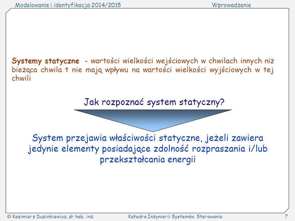 Modelowanie i identyfikacja 2014/2015Wprowadzenie  Kazimierz Duzinkiewicz, dr hab. inż.Katedra Inżynierii Systemów Sterowania7 Systemy statyczne - wa