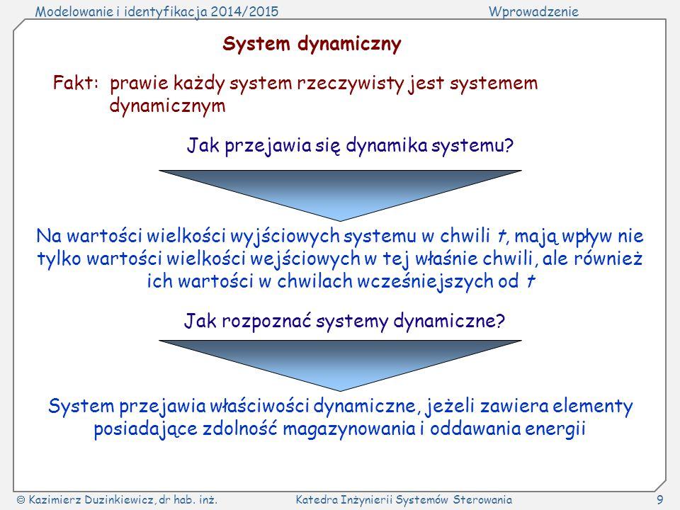 Modelowanie i identyfikacja 2014/2015Wprowadzenie  Kazimierz Duzinkiewicz, dr hab. inż.Katedra Inżynierii Systemów Sterowania9 System dynamiczny Fakt