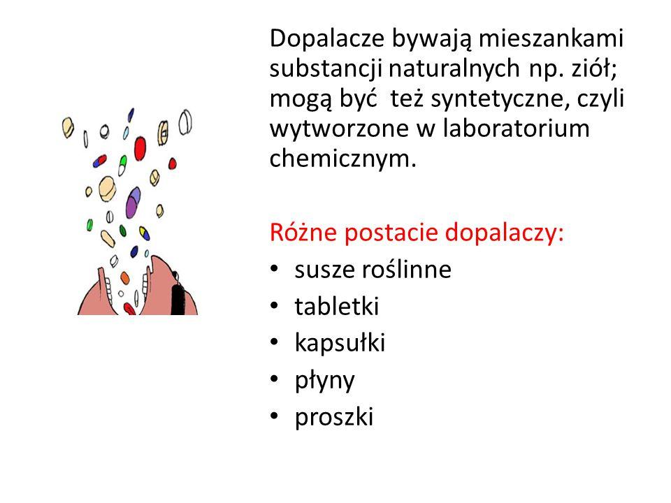Dopalacze bywają mieszankami substancji naturalnych np. ziół; mogą być też syntetyczne, czyli wytworzone w laboratorium chemicznym. Różne postacie dop