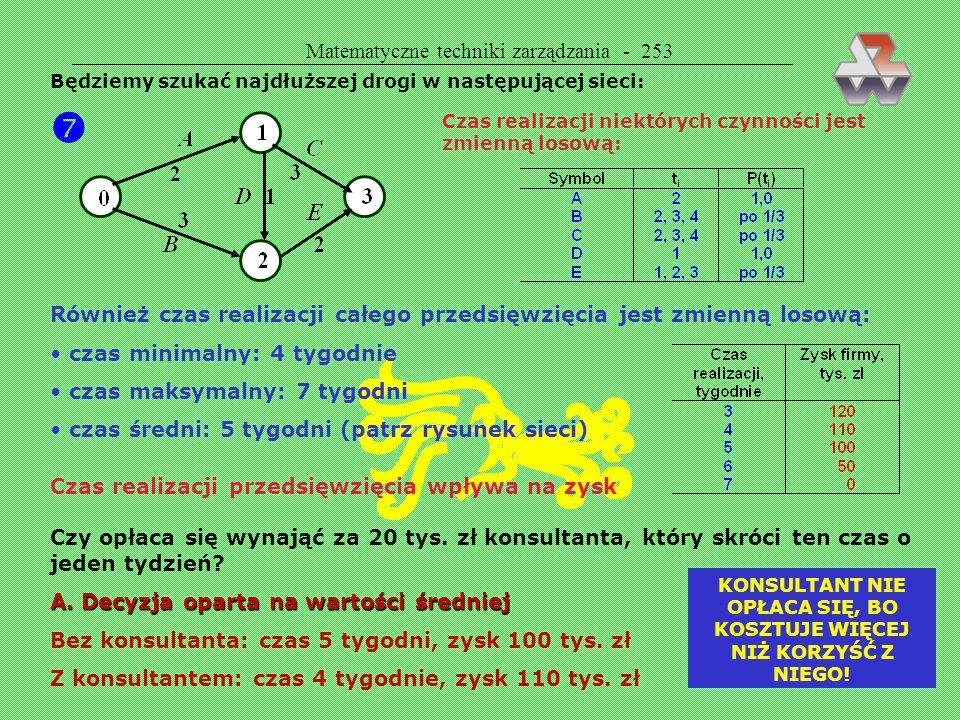 Matematyczne techniki zarządzania - 252  DECYZJA ZRANDOMIZOWANA (ROZWIĄZANIE ZRANDOMIZOWANE) W wielu sytuacjach rozwiązanie zrandomizowane daje lepsz