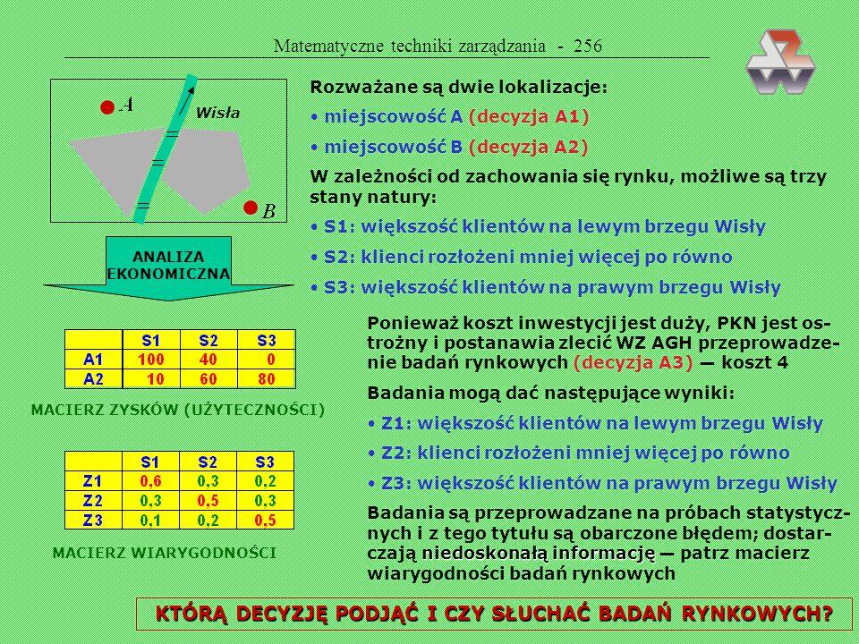 Matematyczne techniki zarządzania - 255 Przykład 56 cd. Ile opłaca się zapłacić za informację — ile wynie- sie czas realizacji przedsięwzięcia w konkr
