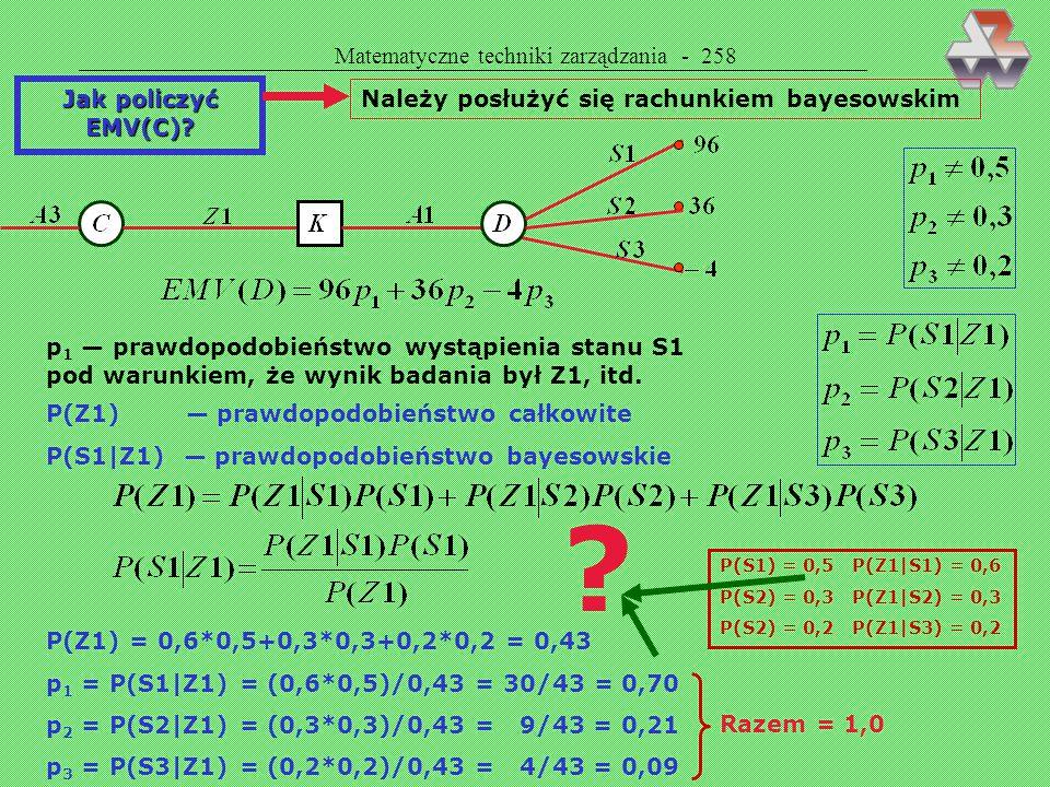 Matematyczne techniki zarządzania - 257 OGÓŁEM MAMY 13 WĘZŁÓW I 24 GAŁĄZKI Przyjmujemy następujące prawdopodo- bienstwa: S1 — 0,5 S2 — 0,3 S2 — 0,2 JE