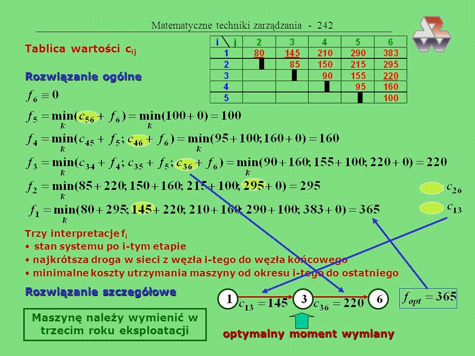 Matematyczne techniki zarządzania - 241 Wymiana urządzeń (teoria odnowy)  Celem jest ustalenie optymalnego momentu wymiany maszyn (obrabiarek, samoch