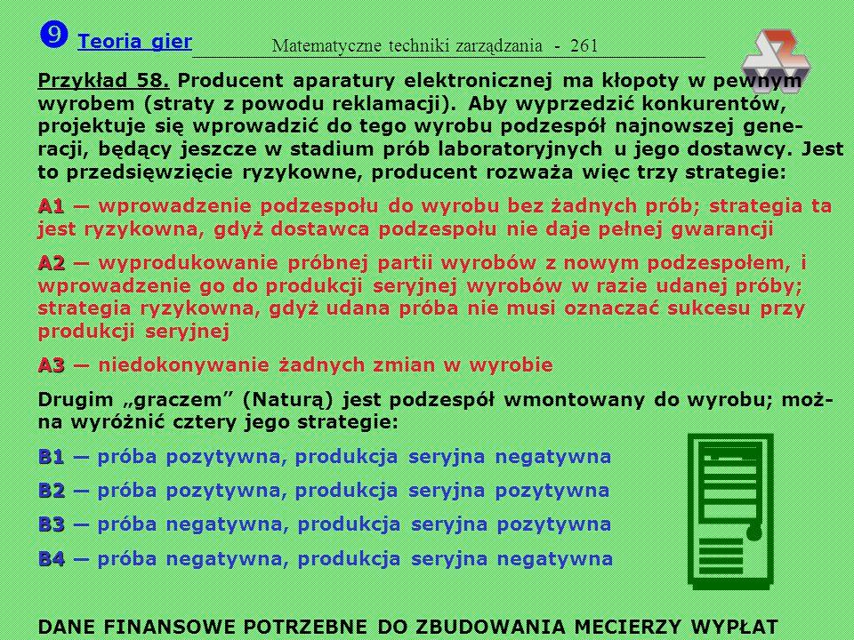 Matematyczne techniki zarządzania - 260 II. Minimax zawodu (ryzyka) II. Minimax zawodu (ryzyka) (kryterium ostrożnego) Zawód (ryzyko) to strata finans