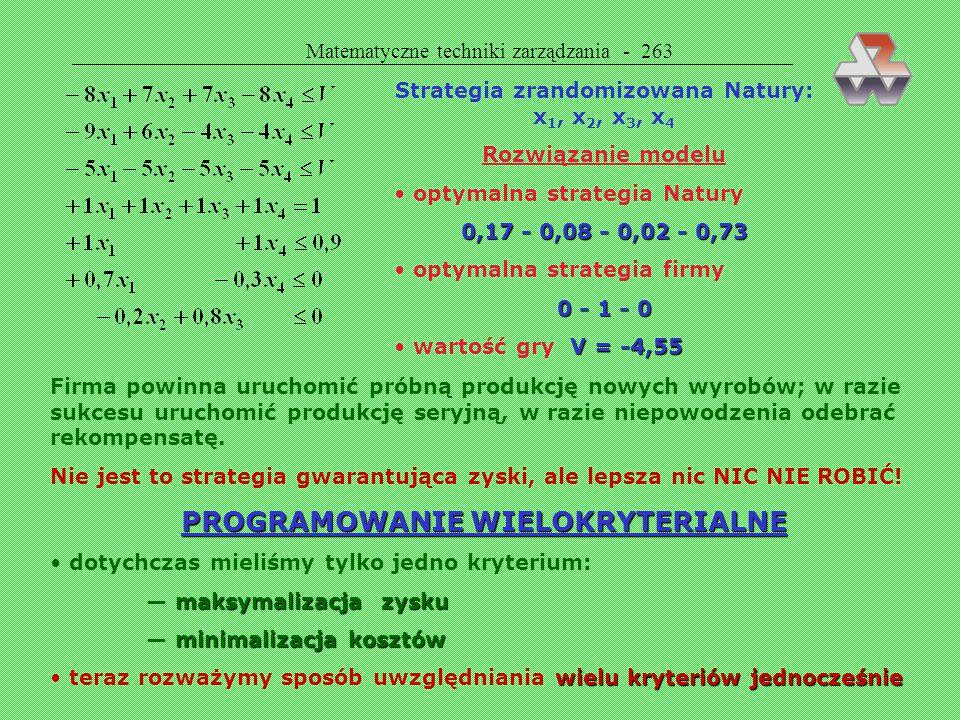 Matematyczne techniki zarządzania - 262 -3 -3 koszt przestawienia produkcji na zmodernizowany wyrób 10 10 zysk w razie udanej konstrukcji zmodernizowa