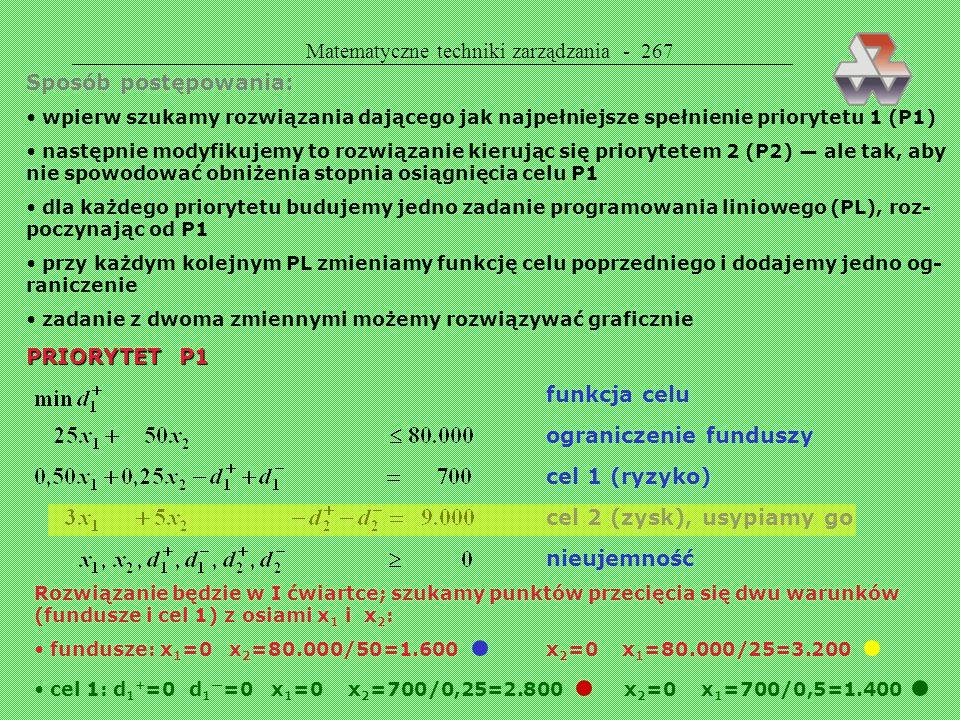 Matematyczne techniki zarządzania - 266 Cel drugorzędny (priorytet nr 2) ZNALEŹĆ PORTFEL AKCJI DAJĄCY ROCZNY ZYSK CO NAJMNIEJ 9.000 ZŁ z uwzględnienie
