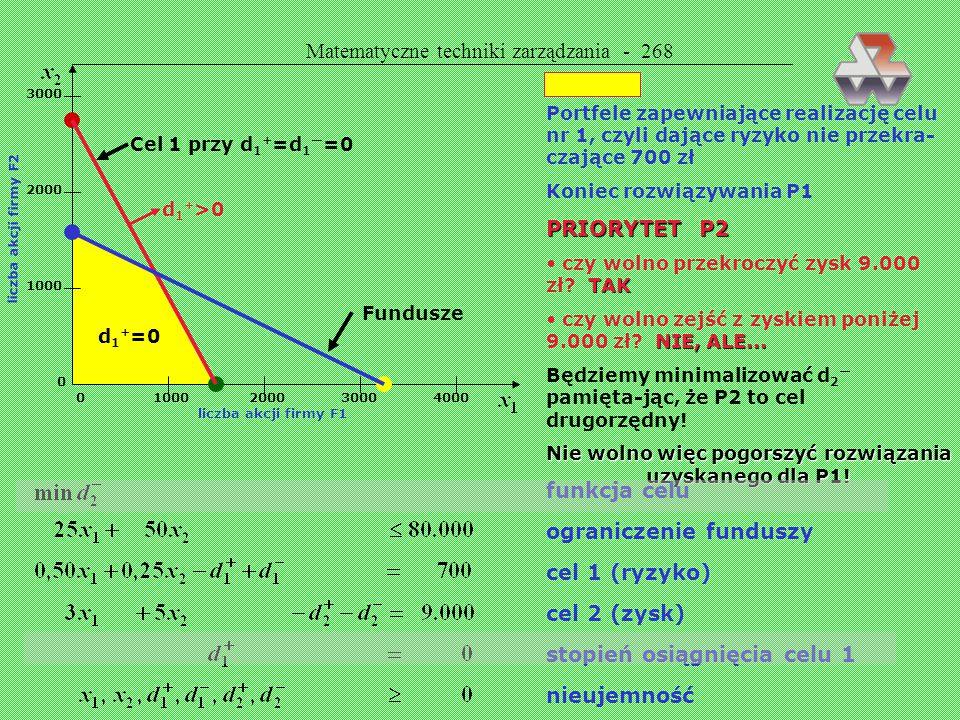 Matematyczne techniki zarządzania - 267 Sposób postępowania: wpierw szukamy rozwiązania dającego jak najpełniejsze spełnienie priorytetu 1 (P1) następ