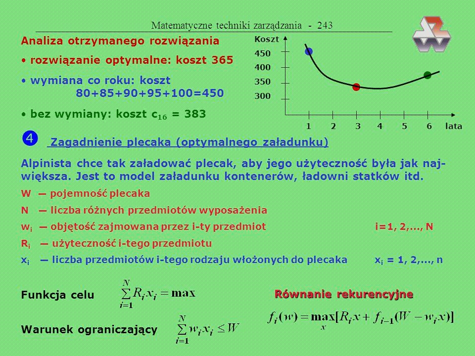 Matematyczne techniki zarządzania - 242 Tablica wartości c ij Rozwiązanie ogólne Trzy interpretacje f i stan systemu po i-tym etapie najkrótsza droga