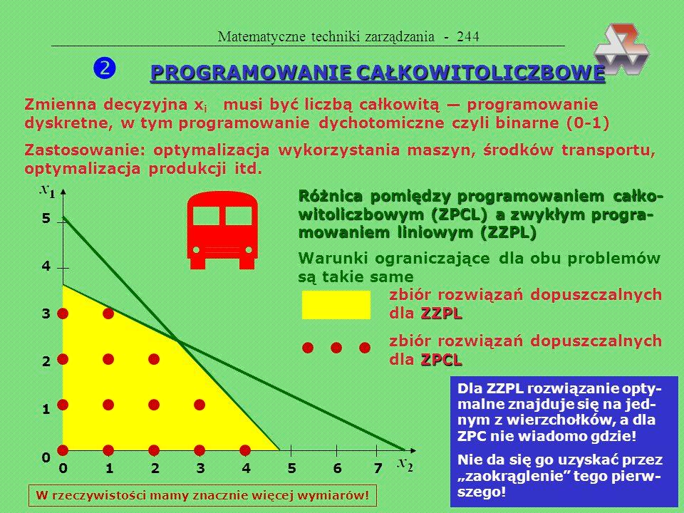 Matematyczne techniki zarządzania - 243 Analiza otrzymanego rozwiązania rozwiązanie optymalne: koszt 365 Koszt 450 400 350 300 1 2 3 4 5 6 lata wymian