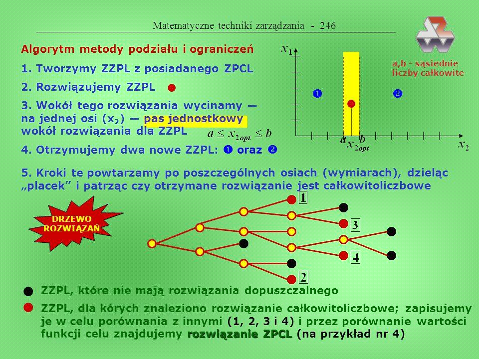 Matematyczne techniki zarządzania - 245 Przykład 53. Znaleźć rozwiązanie zwykłe i całkowitoliczbowe dla następującego modelu ZZPL: x 1 = 13/7 x 2 = 0