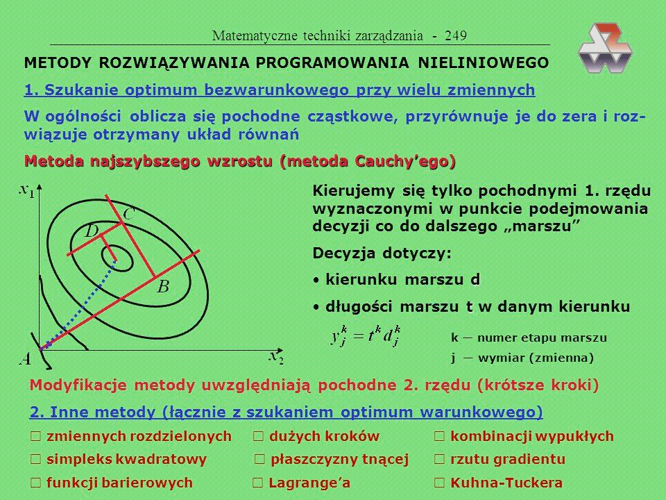 Matematyczne techniki zarządzania - 248 Różnica pomiędzy programowaniem liniowym a nieliniowym PROGRAMOWANIE LINIOWEPROGRAMOWANIE NIELINIOWE stały kie