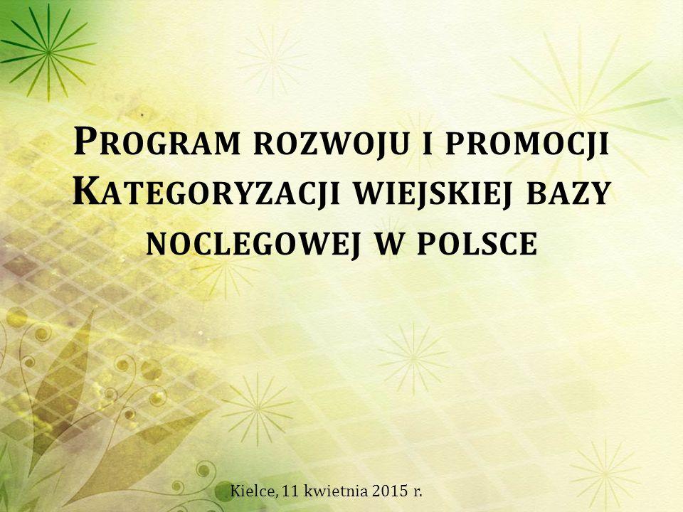 P ROGRAM ROZWOJU I PROMOCJI K ATEGORYZACJI WIEJSKIEJ BAZY NOCLEGOWEJ W POLSCE Kielce, 11 kwietnia 2015 r.