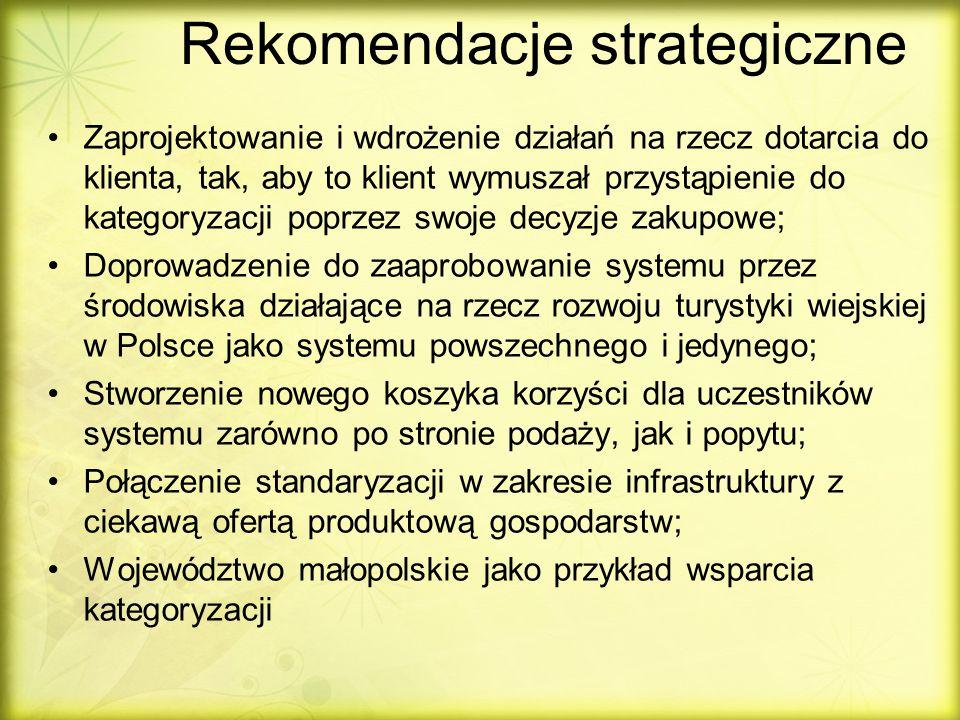 Rekomendacje strategiczne Zaprojektowanie i wdrożenie działań na rzecz dotarcia do klienta, tak, aby to klient wymuszał przystąpienie do kategoryzacji poprzez swoje decyzje zakupowe; Doprowadzenie do zaaprobowanie systemu przez środowiska działające na rzecz rozwoju turystyki wiejskiej w Polsce jako systemu powszechnego i jedynego; Stworzenie nowego koszyka korzyści dla uczestników systemu zarówno po stronie podaży, jak i popytu; Połączenie standaryzacji w zakresie infrastruktury z ciekawą ofertą produktową gospodarstw; Województwo małopolskie jako przykład wsparcia kategoryzacji