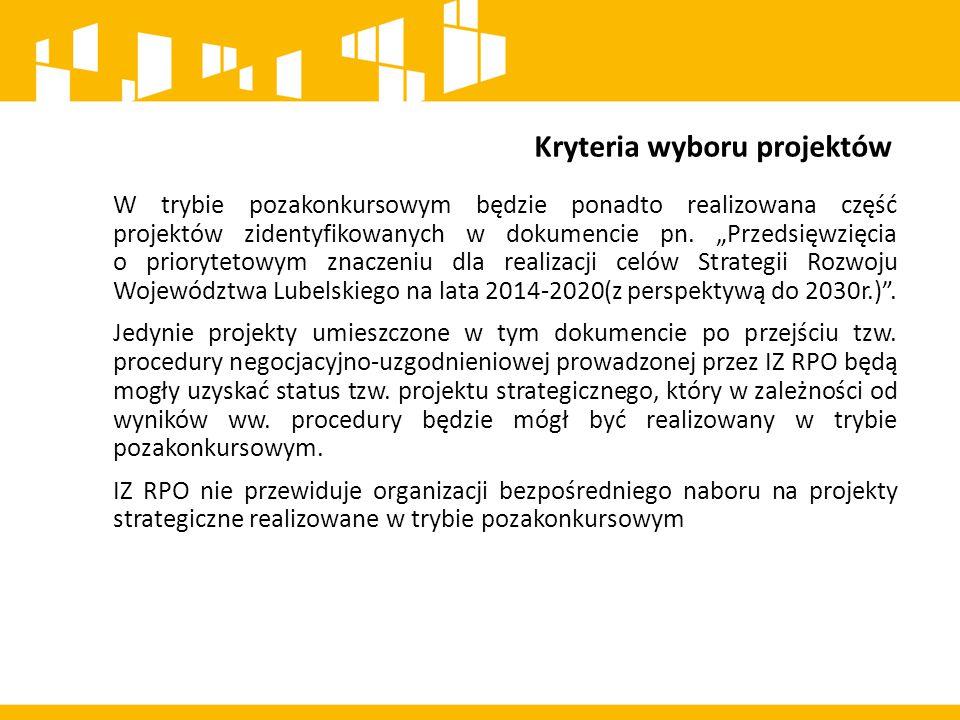 Kryteria wyboru projektów Tryb konkursowy został przewidziany dla projektów realizowanych w formule ZIT ze środków EFS.