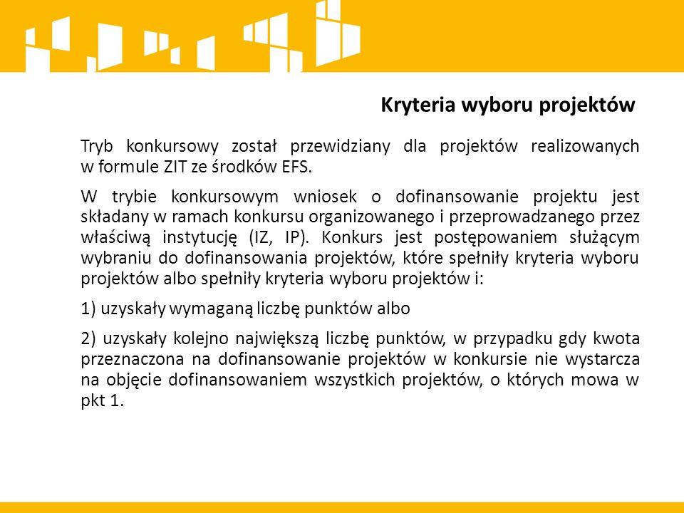Projekty realizowane w formule ZIT - tryb pozakonkursowy Zgodnie z porozumieniem międzygminnym Lider porozumienia zobowiązany jest do: 1) przedstawienia wstępnej listy projektów pozakonkursowych w Strategii ZIT podlegających weryfikacji na etapie opiniowania Strategii ZIT przez IZ RPO; 2) udziału w wypracowaniu propozycji kryteriów wyboru projektów przez IZ RPO uwzględniających zapisy RPO; 3) oceny projektów w zakresie kryteriów zgodności lub stopnia zgodności ze Strategią ZIT.
