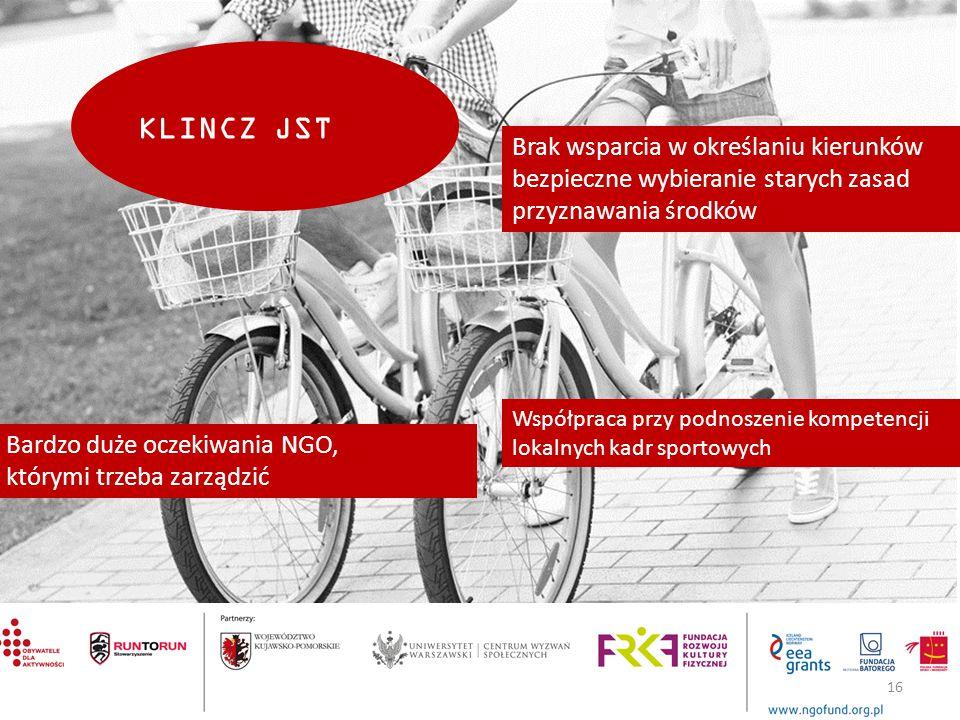 KLINCZ JST Współpraca przy podnoszenie kompetencji lokalnych kadr sportowych Brak wsparcia w określaniu kierunków bezpieczne wybieranie starych zasad przyznawania środków Bardzo duże oczekiwania NGO, którymi trzeba zarządzić 16